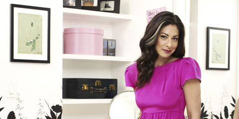 stacy london in hot pink dress