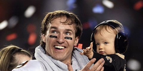 drew brees and son at super bowl