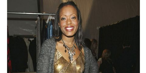 designer tracy reese in gold dress