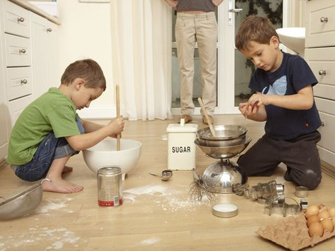 Kids playing in the kitchen