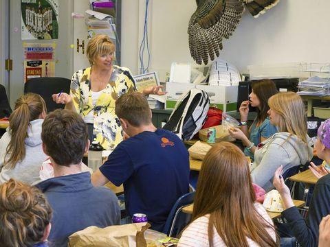 Deborah White talking to kids