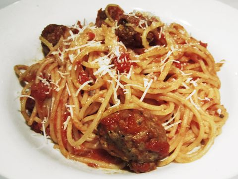 Mom's Ricotta Meatballs & Spaghetti with Bolognese from Romano's Macaroni Grill