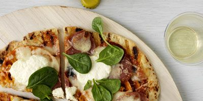 grilled pizza with soppressata ricotta and spinach