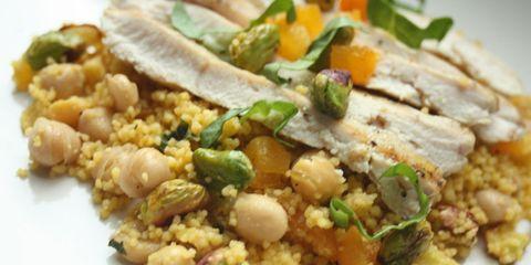 Saffron Couscous with Pistachios, Apricots, Squash & Cool Mint Vinaigrette