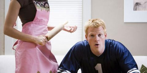 wife angry with man for watching sports