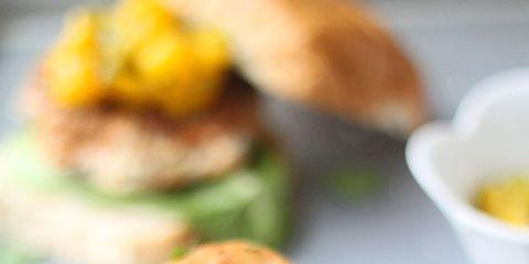 Blackened Chicken Burgers with Warm Mango Salsa