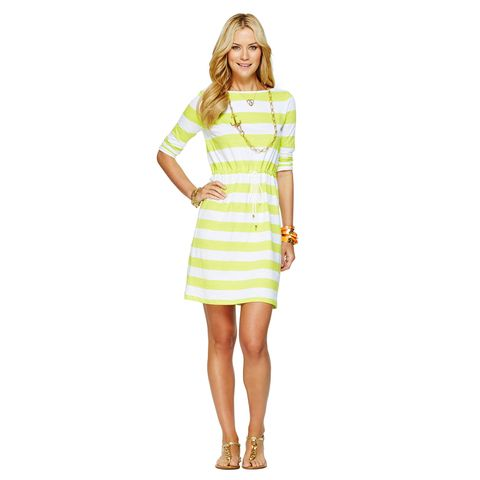 lime green striped dress with drawstring