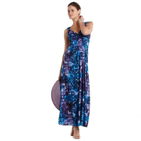 blue and purple tie-dye maxi dress
