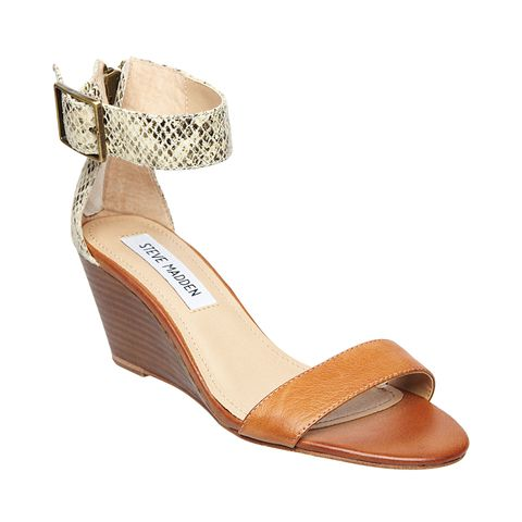snake skin and brown wedge sandal