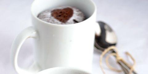 chocolate espresso mug cake with heart