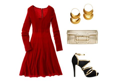 sweater dress with accessories