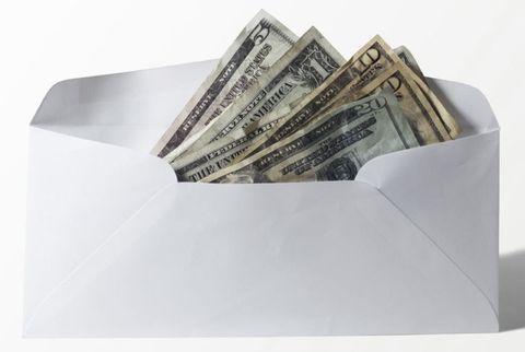 envelope filled with money