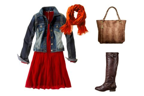 sweater dress with denim jacket and accessories