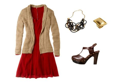 sweater dress with cardigan clogs and jewelry