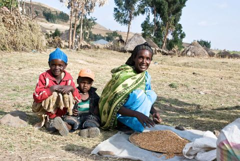 Ethiopian mom with her kids