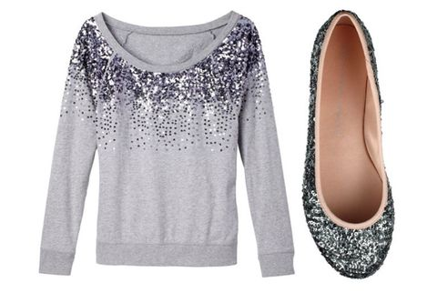sequined sweatshirt and flats