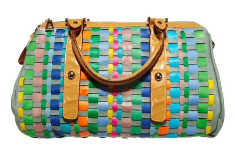 colorful woven handbag