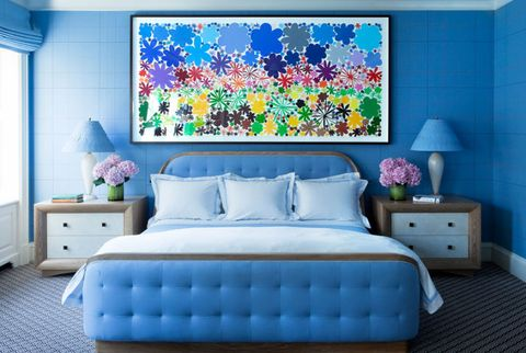 decorating with blue paint