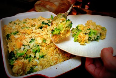 Crispy Broccoli, Chicken and Rice Casserole with Slivered Almonds