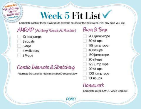 wdc, week 5, phase 2, fit list, workout check list, wedding dress challenge