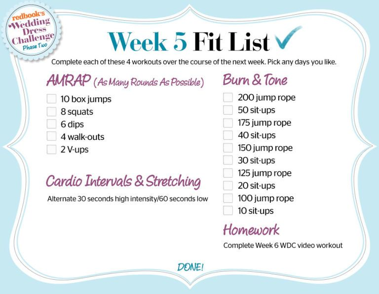 Wdc Week 5 Phase 2 Fit List Workout Check Wedding