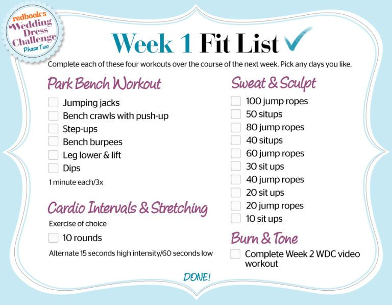 Wedding Dress Challenge Phase 2 Week 1 Workout