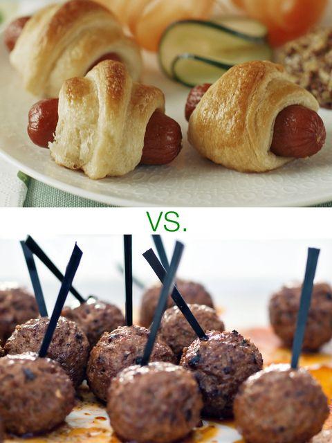 Pigs in a blanket vs. meatballs