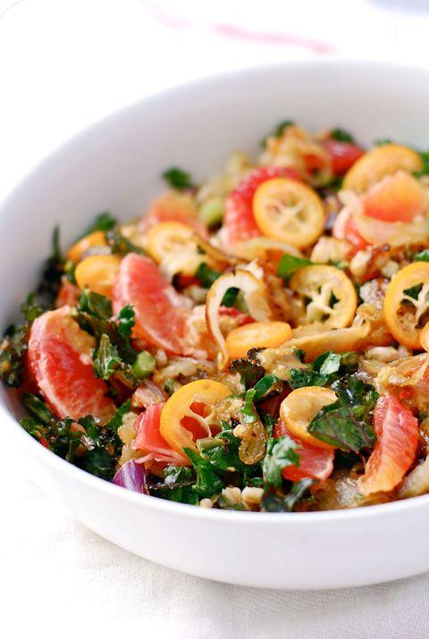 Farro Salad with Kumquats, Blood Orange, and Kale