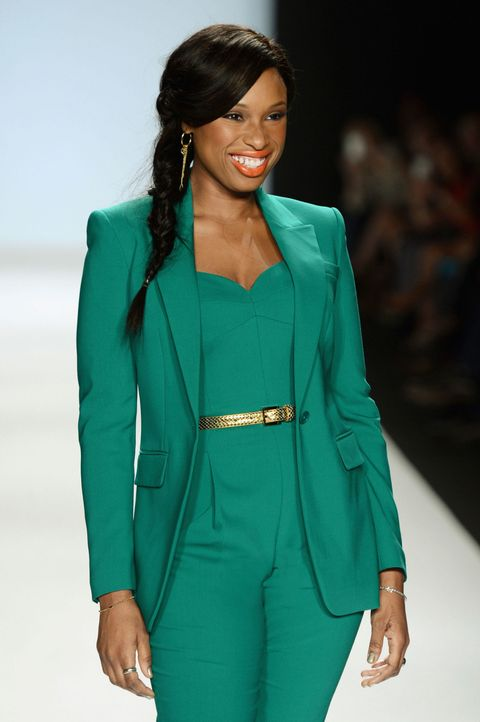 jennifer husdon green pants suit