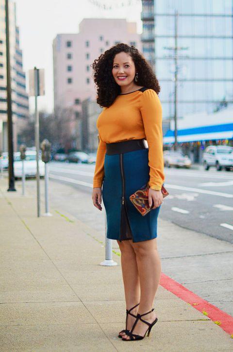 flattering blue skirt