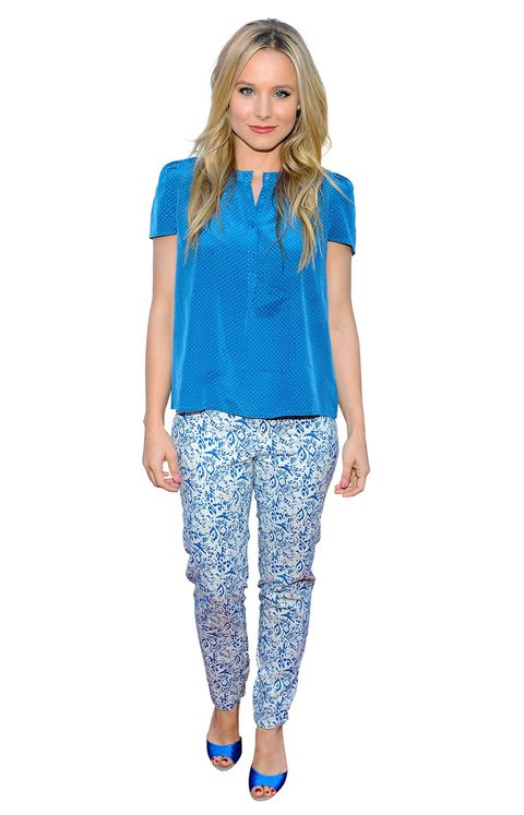 Kristen Bell wearing printed pants