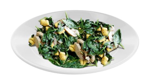 Lunch: Wilted spinach and spiced chicken