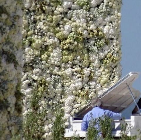 Kim Kardashian Kanye West Wedding Flower Wall