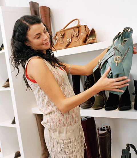 woman at a purse store