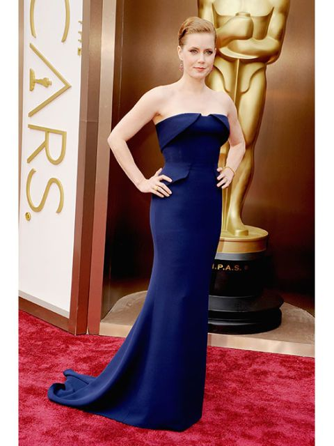There was no plunging neckline  for the Best Actress nominee, who kept it conservative in royal blue peplumed Gucci Couture.