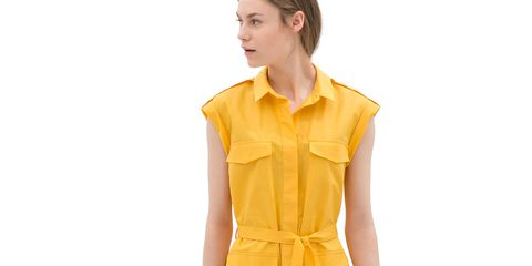 Sleeve, Shoulder, Collar, Joint, Dress, Standing, Formal wear, One-piece garment, Style, Day dress,