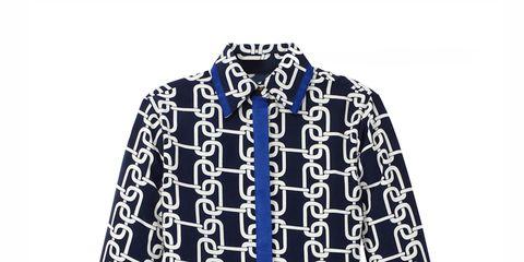 printed button-down blouse