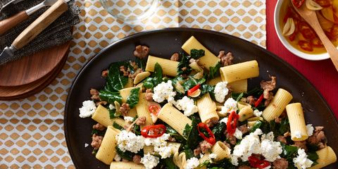 Spicy sausage, greens, and rigatoni