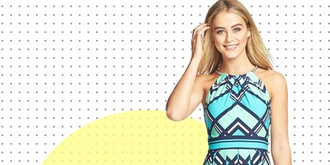 Yellow, Pattern, Dress, One-piece garment, Facial expression, Style, Formal wear, Day dress, Waist, Teal,