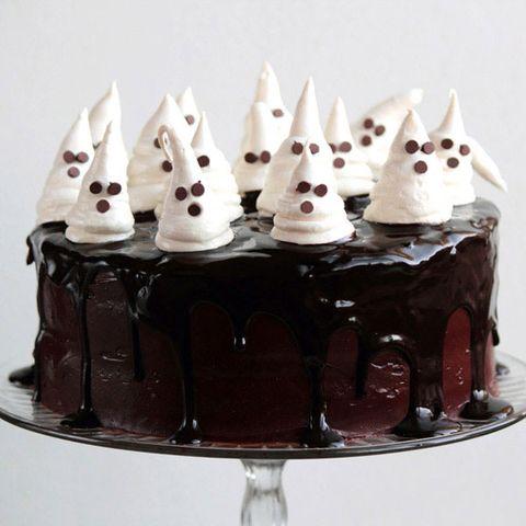 chocolate fudge cake with ghost meringues
