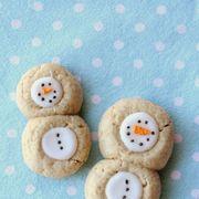 thumbprint snowman cookies