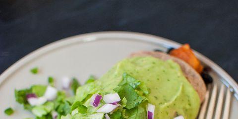 Sweet Potato Burrito Smothered in Avocado Salsa Verde