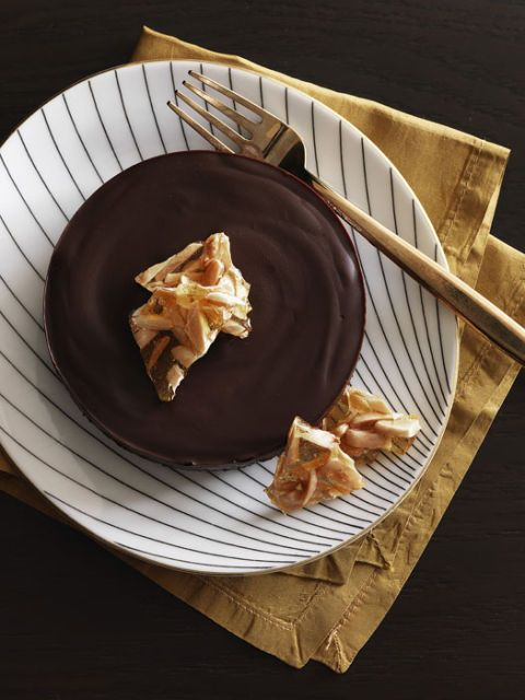 chocolate tart with almond brittle