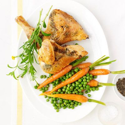 Roasted Tarragon Chicken with Spring Carrots and Peas