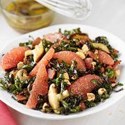 Kale and Grapefruit Salad with Warm Bacon Wild Mushroom Dressing