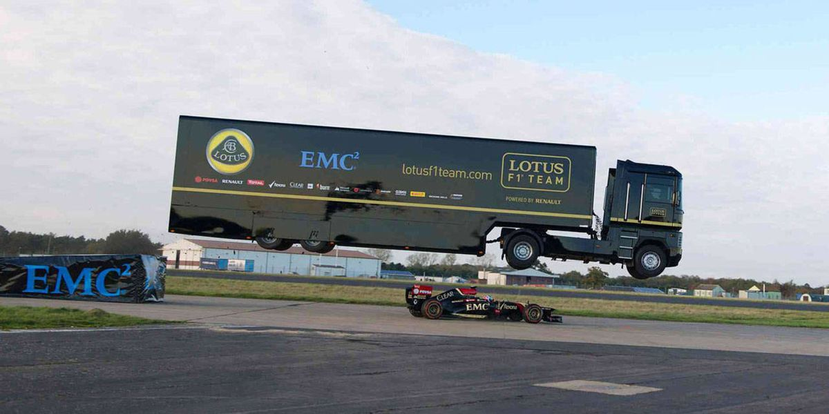 Lotus F1 sets world record with wild truck jump