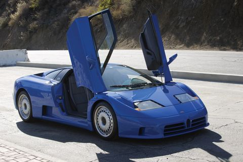 Land vehicle, Vehicle, Car, Supercar, Bugatti eb110, Automotive design, Bugatti, Sports car, Electric blue, Performance car,