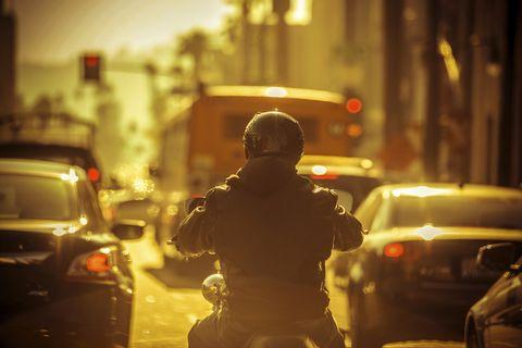 Lane splitting on motorcycles
