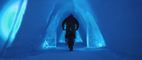 Dougie Lampkin trials riding ice hotel