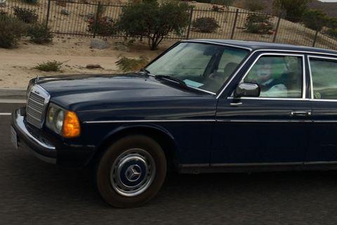 Clown driving Mercedes near Palm Springs